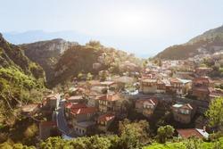 panoramic view of traditional greek village Stemnitsa, Peloponnese, Greece