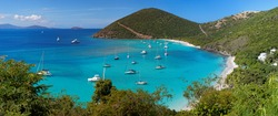 Panoramic view of tropical shoreline in British Virgin Island (BVI), Caribbean