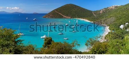 Panoramic view of tropical shoreline in British Virgin Island (BVI), Caribbean #470492840
