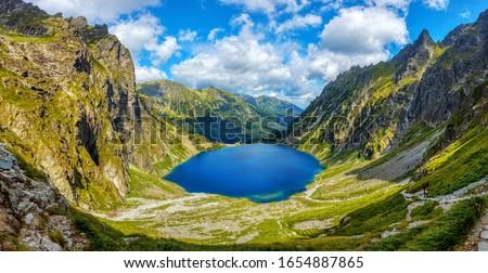 Panoramic view of two lakes, Morskie Oko and Black lake, in polish Tatra mountains National park in Zakopane, Poland Stock fotó ©