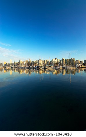 Panoramic view of Vancouver harbor and Stanley Park.