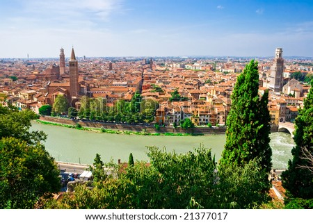 panoramic view of Verona from the high hill, Italy