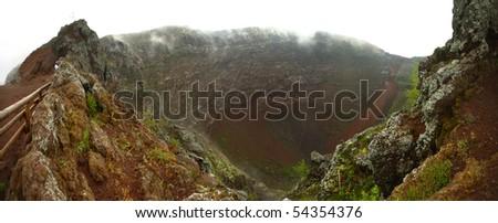 Panoramic view of Vesuvio Volcano crater