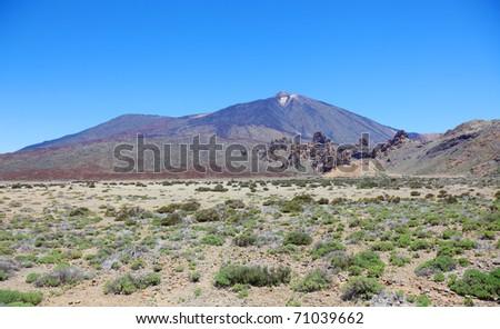 Panoramic view of volcanic desert near El Teide volcano, Tenerife, Spain. - stock photo
