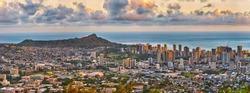 panoramic view of Waikiki and Diamond Head from Tantalus lookout in the Puu Ualakaa State Park, Honolulu, Oahu, Hawaii