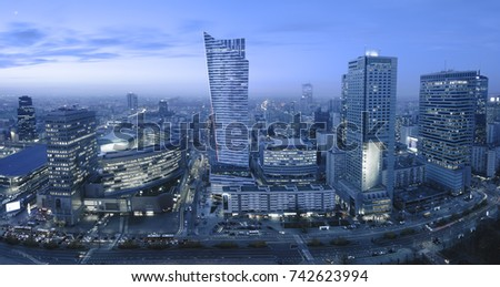 Panoramic view of Warsaw downtown during the night #742623994