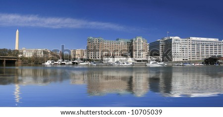 Panoramic View of Washington Monument and Washington DC financial, office district across the potomac - stock photo