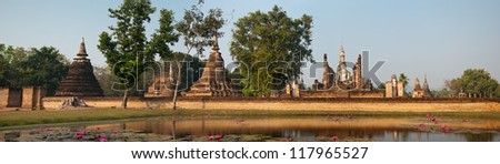 Panoramic view of Wat Mahathat - buddhist temple in Sukhothai historical park, Thailand