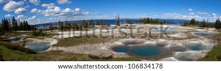 Panoramic view of west thumb geyser basin in Yellowstone national park.
