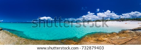 Panoramic view of Whitehaven Beach with white sand in the Whitsunday Islands, Queensland, Australia #732879403