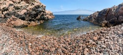 Panoramic view of wild rocky beach in White Point, Cape Breton Island Nova Scotia