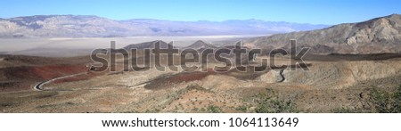 Panoramic view of windy mountain road in the Panamint Range, Death Valley National Park.  California Route 190.
