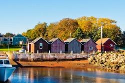 panoramic view of wood cabin at seaside fishing village of victoria harbor prince edward island nova scotia canada