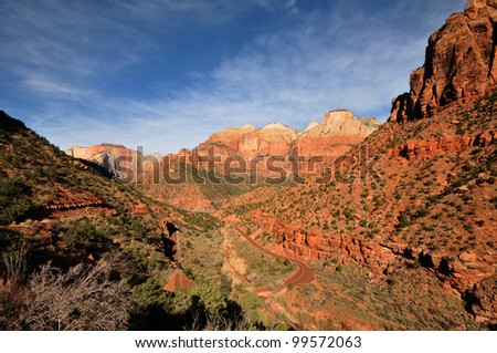 Panoramic view of Zion National Park in spring