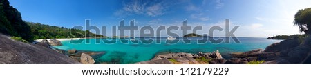 Panoramic view on a beach on the island Miang (No. 4), Similan islands, Thailand