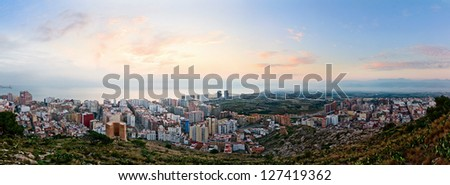 Panoramic view on a small spanish city Cullera (Valencia, Spain) at sunrise