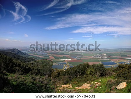 Panoramic view on a valley from mount Gilboa (Israel)