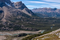 Panoramic view on a valley with a turquoise river Electrico, flowing from the glacier Marconi, near village El Chalten, Argentina, February 2020.