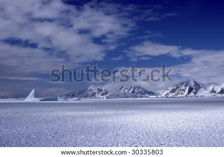 Panoramic view on Antarctica mountains