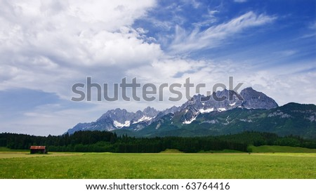 Panoramic view on Austrian Tirol Alps, summer