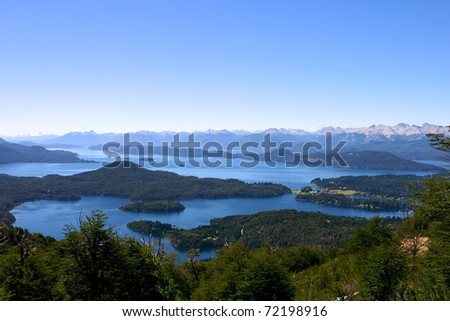 Panoramic View on Bariloche the mountains and the Lake - Patagonia
