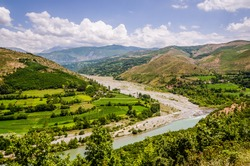 Panoramic view on Black Drin river in Albania in summer