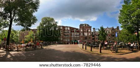 Panoramic view on bridge over the Amstel river and city center in Amsterdam, Netherlands.
