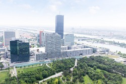 Panoramic view on business centre and UNO city in Vienna from the tower