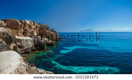 "Panoramic view on ""Cala Bue Marino - Favignana, archipelago Egadi islands - Sicily, Italy. One of the most famous beach of Favignana Island"