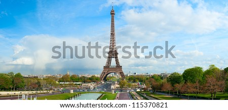 Panoramic view on Eiffel Tower, Paris, France.