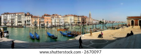 Panoramic view on famous Grand Canal from Santa Maria della Salute basilica in Venice, Italy.