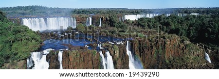 Panoramic view on famouse Iguasu waterfall on Argentina side