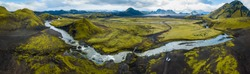 Panoramic view on green inland of Iceland
