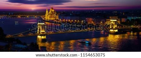 Panoramic view on illuminated Budapest in evening, Hungary