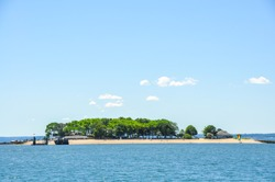 Panoramic view on Island Beach located two miles south of Greenwich Harbor in Greenwich, CT, USA; the island can be reached by ferry for recreational purposes