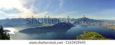 Panoramic view on Lake Lucerne, Mount Pilatus and Swiss Alps from Mount Rigi