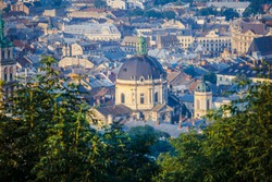Panoramic view on Lviv from high Castle