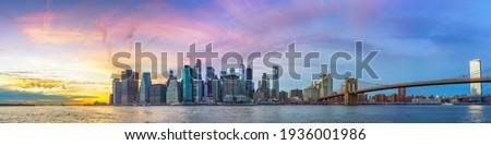 Panoramic view on Manhattan and Brooklyn bridge at sunset, New York City Stock photo ©