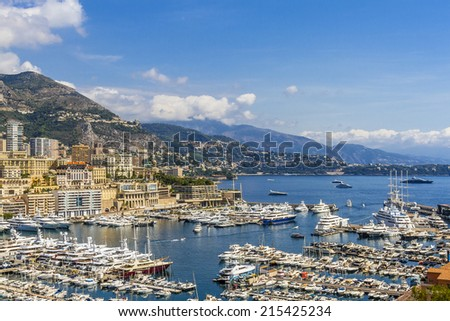 Panoramic view on marina and excellent residential buildings in Monte Carlo, Monaco. Principality of Monaco is a sovereign city state, located on the French Riviera in Western Europe. #215425234