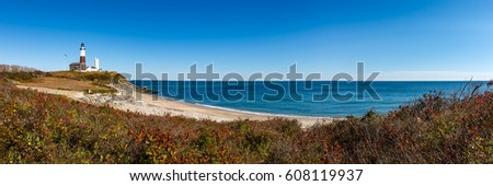 Panoramic view on Montauk Point State Park Lighthouse and the Atlantic Ocean. Long Island, New York State #608119937