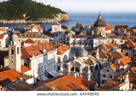 Panoramic view on old center of Dubrovnik city anf Cathedral of the Assumption of the Virgin Mary, Croatia - stock photo