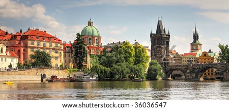 Panoramic view on old part of Prague.