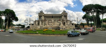 Panoramic view on piazza Venezia and National Monument of Victor Emmanuel II (Monumento Nazionale a Vittorio Emanuele II) in Rome, Italy.
