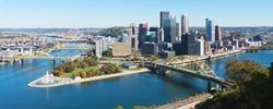 Panoramic view on Pittsburgh, PA skyline