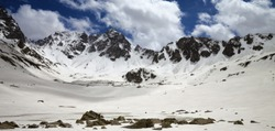 Panoramic view on plateau in high snowy mountains with frozen lake covered snow at sunny spring day. Turkey, Kachkar Mountains, highest part of Pontic Mountains.