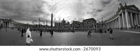 Panoramic view on plaza in front of Saint Peter Basilica in Vatican (black&white).