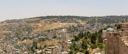 Panoramic view on St. Peter in Gallicantu Monastery on Zion Mount in Jerusalem from old city wall