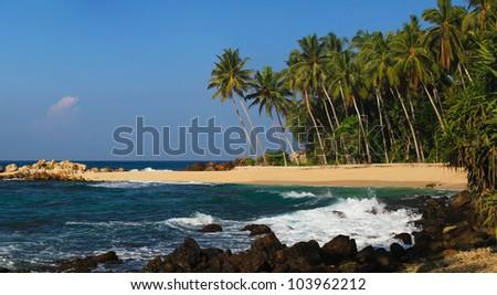panoramic view on sunny beach