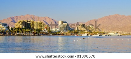 Panoramic view on the Aqaba gulf and resort hotels on the northern beach of Eilat, Israel