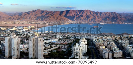 Panoramic view on the Aqaba gulf, Eilat, Israel